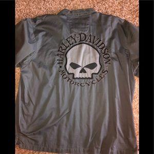 Harley Davidson men's button up skull shirt